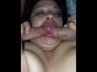 Double suck special. Allision serves up some lip service