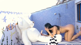 Kira Queen sex on a rooftop with teddy bear Miguel after swimming in pool