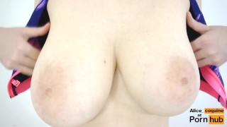 Slow jacks f tits motion covered epic jumping with cum cup bra tit