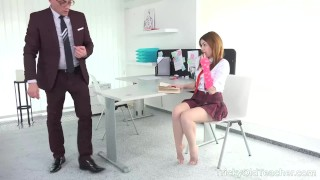 Tricky Old Teacher - Babe takes doggy position to get punished Wet skinny