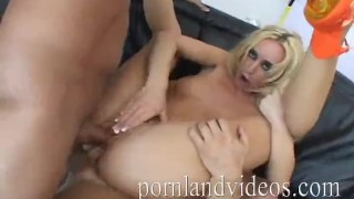 Blonde slut Kelly Wells fucking 3 big cocks