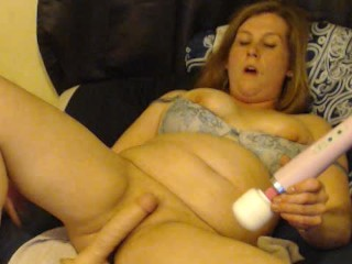 horny girl makes her-self squirt twice as she plays with her hitachi
