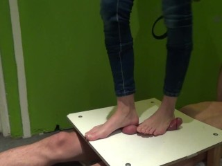 Bare feet cock and balls trample