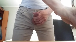 Jerk off in jeans and hands free cum With dick