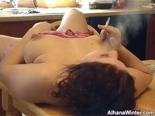 Smoking Masturbation on Kitchen Table - ALHANA WINTER - Cigarette Fetish
