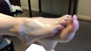 Slutty Red Head Teen Gives Footjob and Gets Pissed On