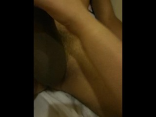 Hot Latina masturbating her boy's big cock and using her feet