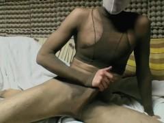 YOUNG GUY IN TAN PANTYHOSE ENCASEMENT MASTURBATING