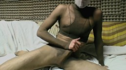 YOUNG GUY IN TAN PANTYHOSE ENCASEMENT MASTURBATING
