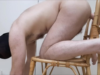 Straight guy ass fucked loud by huge cock on chair - dildo, a2m