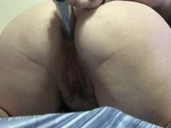 First time butt play with toy