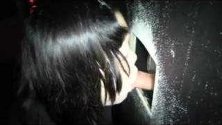 hot swallow in gloryhole.old but good,she really likes it :-D  outside public blowjob gloryhole