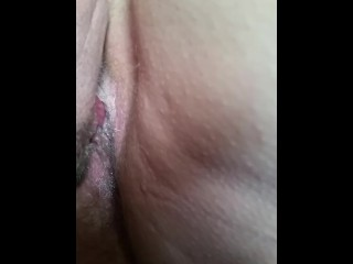 Eating my wife's fat hairy pregnant pussy