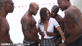 School Girl Keisha Grey Puts In Work - Hot Rough BBC Gangbang