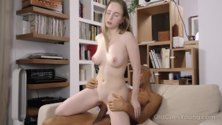 Old Goes Young - Sweet babe takes a huge load of cum on her tits