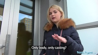 Public Agent Hot blondes gets a mouthful of cum after fucking for cash