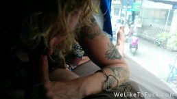 She sucks and swallows every drop on the bus - I know they saw us