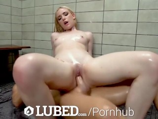 LUBED Tiny breasted newcomer Maddi Winters joined for shower fuck