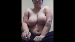 Sexy BBW milf shirtless smoking