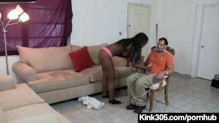 Black Beauty Simone Styles Ties Up HandyMan & Bangs His Toy!