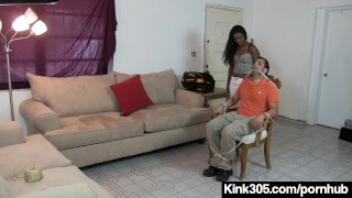 Black Beauty Simone Styles Ties Up HandyMan & Bangs His Toy!