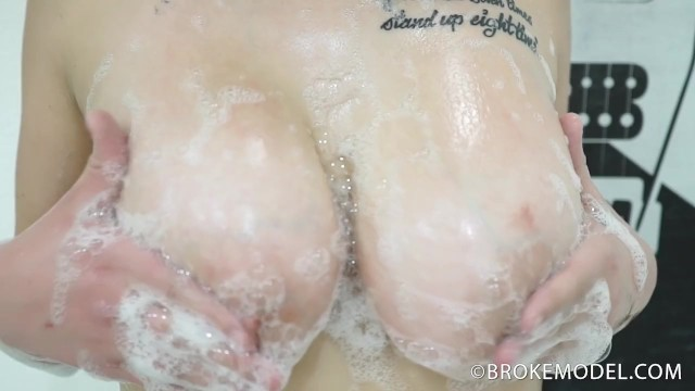 Teen breast model Broke model savannahs huge barely legal 34ddd boobs in soapy slow motion