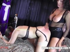 Femdom Strapon Jane fucks horny lesbian peach ass slut with massive strapon