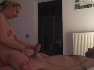 Wife jerking me off while playing with pussy, cowgirl ride with moaning ;)