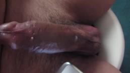 Stroking big fat dick