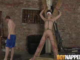 Blindfolded twink dominated and cock sucked by master