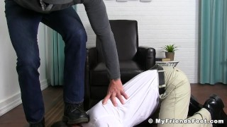 Dominant inked jock toe licked by soft office stud