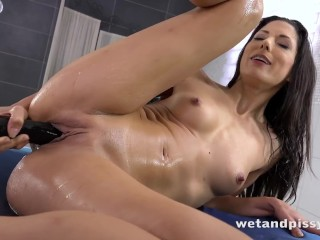 Piss Drinking - Alexa Tomas tastes her golden pee after toying her pussy