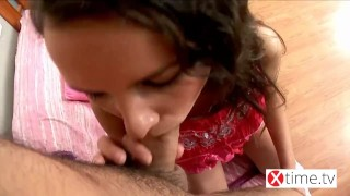 Pov attack - Anal destruction for a tiny brunette Bukkake orgasm
