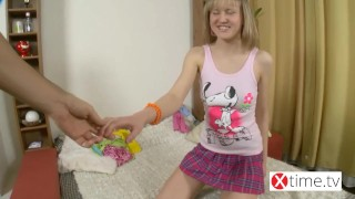 So cute but so bitch! Bad little blond get extreme anal punishment Small slim