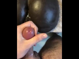 Fucking my Ebony toy pt.2 EXPLOSIVE CUM ON ASS