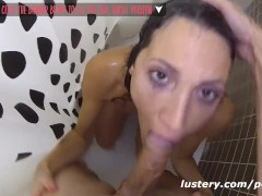 Real Girlfriend deepthroats and fucks in shower quickie