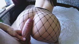 Hungry for cock fuck with big ass babe in fishnets