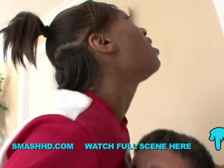 NEVAEH GIVENS INTERRACIAL BLACK CHEERLEADER DEEP THROAT FUCKS NEW TEACHER