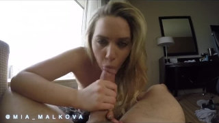 Mia Malkova bouncing her perfect ass on a big dick before getting creampie Cosplay real