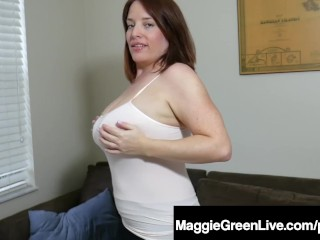 Natural Boobed Maggie Green Fondles & Pinches Her Huge Tits!