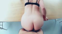 Busty babe sucks and fucks till her ass gets cummed