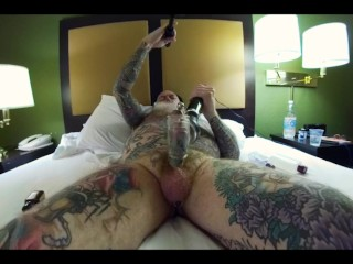 Inked Daddy Bear Bating Pierced Cock with Doxy Wand