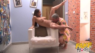 Fake Hostel - Francaise babe big natural tits orgasms loudly on thick cock Pigtails glasses