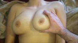 Asian Stoner gets Cum on Big Natural Tits