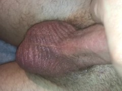 solo cock massage, huge cumloads with pulsating balls close up