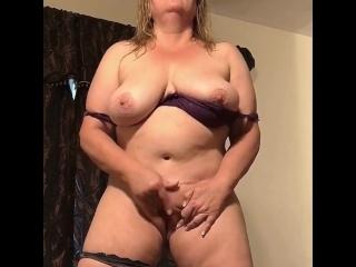 Naughty Raven Masturbating While Standing