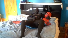 orca frogman playing with spiderman dummy