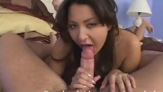 Slutty Brunette Teen Allie Ray Sucking Cock and Licking Balls