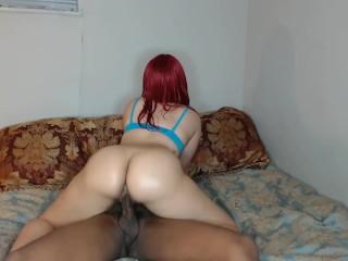 Red head in blue bra ride's cock w/ perfect round ass & makes friend cum!