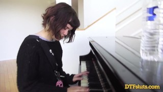 Piano sex rough over followed her by skills shows off cum yhivi and face brunette cumshot